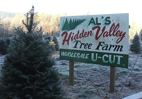 Al's Hidden Valley Tree Farm Sign